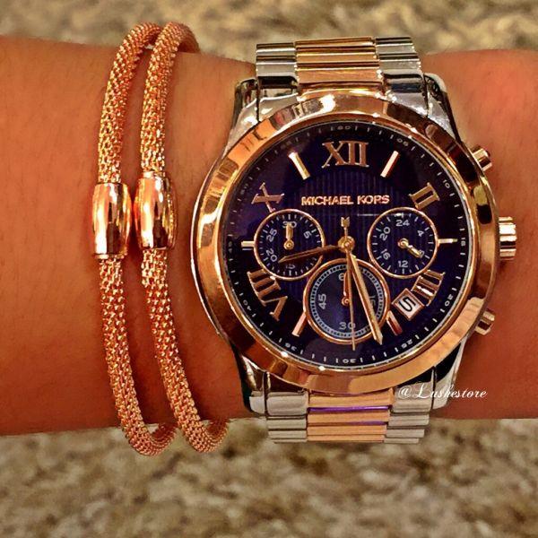 c4a36c10c1b Relógio Michael Kors Mod. MK6156 prata com rosê fundo azul - LusheStore